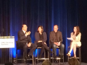 (L to R) Ambassador Ido Aharoni, Consul General of Israel in New York; Naomi Hirabayashi, CMO of DoSomething.org; Matt Farrell, USA Swimming CMO; Maureen Morrisson, Moderator from Ad Age Magazine