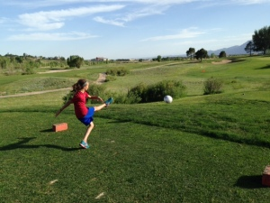 footgolf - zoe teeing off