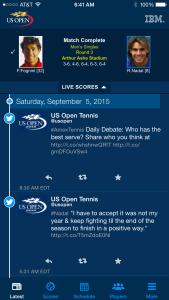 U.S. Open Tennis - IBM App